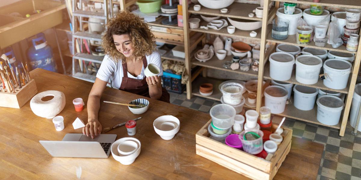 business owner online in ceramic shop
